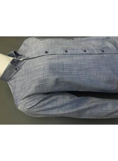Abbate Düğmelı Yaka Slım Fıt Keten Görünümlü Casual Gömlek Lacivert